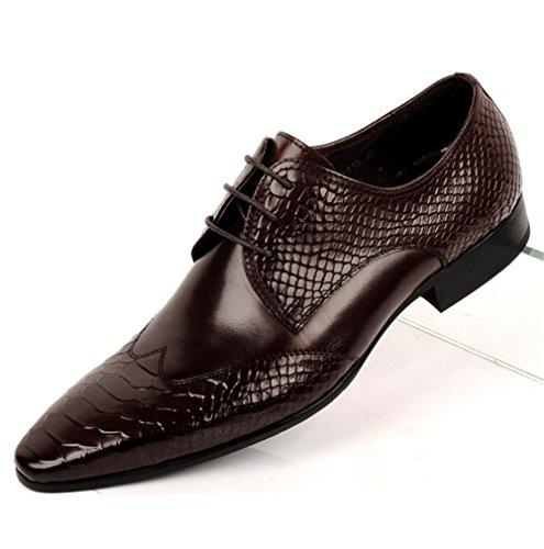 Hombres Oxford Toro castrado Zapatos Cuero Encajes Formal Boda Negocio Inteligente para los hombres Puntiagudo Dedo del pie Negro marrón Oficina Trabajo Fiesta Brown