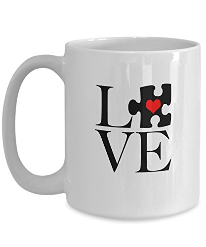 Funny Jigsaw Puzzle Coffee Mug - LOVE Jigsaw Puzzle Piece- Gifts for Jigsaw Puzzlers