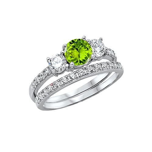 Band Peridot Ring - Blue Apple Co. 3-Stone Wedding Bridal Set Ring Band Round Simulated Peridot 925 Sterling Silver, Size-8