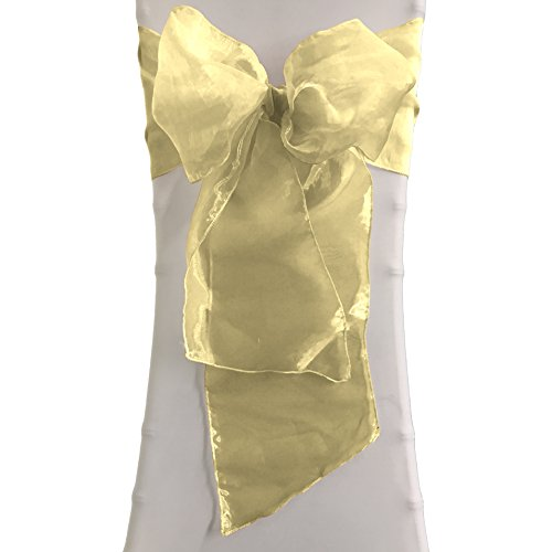 LA Linen 8 by 108-Inch Sheer Mirror Organza Chair Sashes / Pack of 100 / Gold. by LA Linen