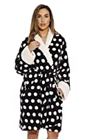 Just Love Sherpa Trim Plush Robe for Women - Polka Dot