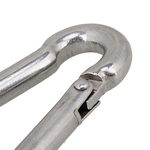 CNBTR M8 80mm 304 Stainless Steel Multifunctional Spring Snap Hook Quick Link Lock Ring Carabiner Set of 10 by CNBTR  (Image #3)