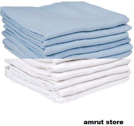 Dudu N Girlie 100% algodón bebé pañuelos cuadrados de muselina, 70 cm x 70 cm, juego de 12, Azul/Blanco: Amazon.es: Bebé