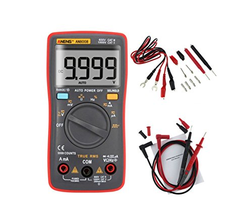 ANENG AN8008 True RMS Pocket Digital Multimeter Bench meter Features 9999 Counts Backlight AC DC Current Voltage Resistance Frequency Capacitance Square Wave Output Auto Manual Ranges