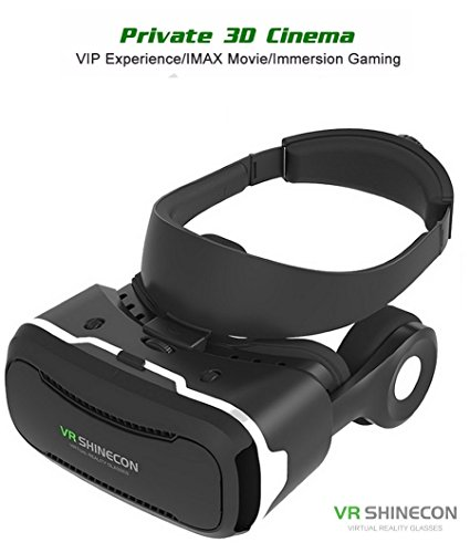 [ 4th Generation ] Virtual Reality Headset, VR Shinecon 4.0, with Stereo 360° Viewing Immersive VR Headset, for iPhone Samsung Android Smart Phone 3D Movies Games Video Glasses (Black)