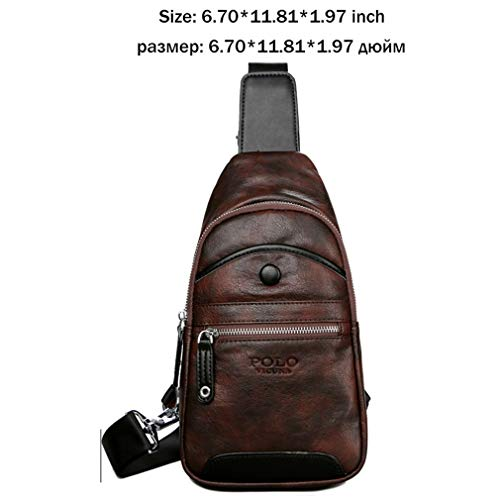 Men Leather Chest Bag Men Travel Sling Shoulder Bag Large Capacity Casual Waterproof Crossbody Bags Brown (Strap Brown Tamrac)