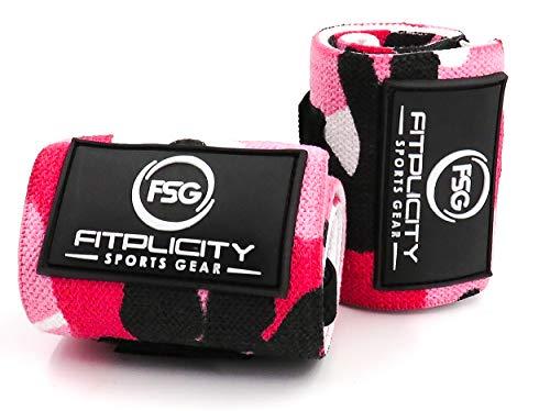 (Fitplicity Premium Weight Lifting Wrist Wraps (Pink Camo) )