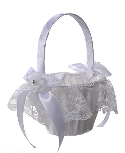 Flower Girl Basket Wedding Collection Traditional White (Model 02-06)