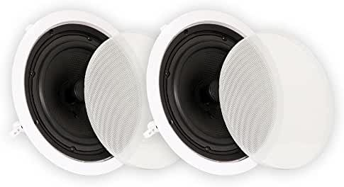 Theater Solutions TS80C 8-Inch In Ceiling Surround Sound HD Home Theater Round Kevlar Speaker Pair