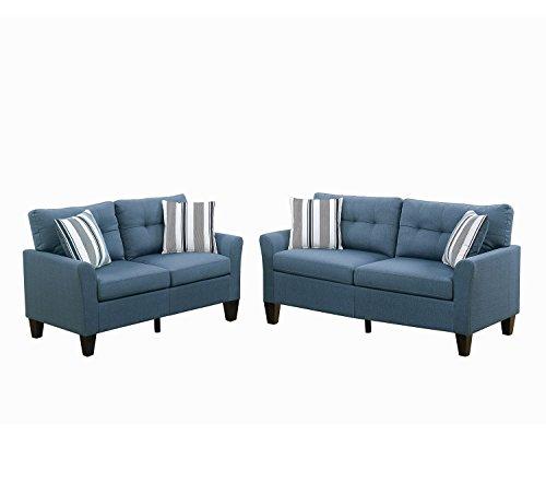 Poundex F6535 PDEX-F6535 Sofas, Blue (Sofa Set Denim)