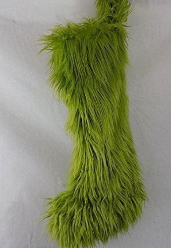 - Luxurious Mongolian Olive Green faux fur Christmas Stocking. Fully lined. Whimsical fun stocking. Roomy, large, super soft.
