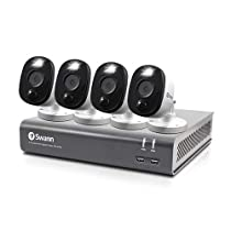 Swann 4 Channel 4 Camera Security System, Wired Surveillance 1080p HD DVR 1TB HDD, Audio Capture, Weatherproof, Color Night Vision, Heat & Motion Sensing Warning Light, Alexa + Google, SWDVK-445804WL