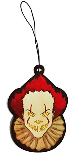 We All Float Down Here Scary Clown Movie Laser Engraved Printed Wooden Rear View Mirror Car Charm Dangler -