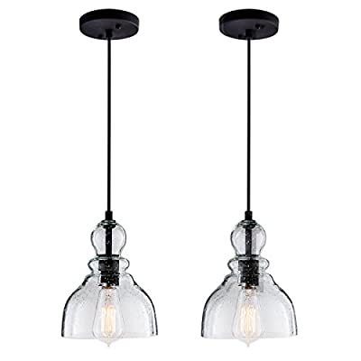 Industrial Mini Pendant Lights with Handblown Clear Seeded Glass Shade