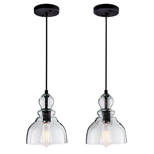 Lanros Industrial Mini Pendant Lights with Handblown Clear Seeded Glass Shade, Adjustable Bell Pendant Lighting for Dining Room,Kitchen Island, Restaurants, Bars and Shops, 2-Pack
