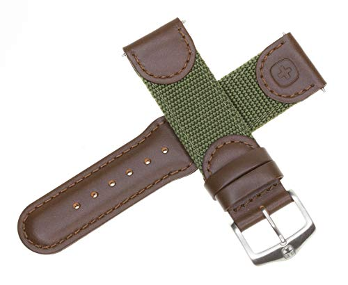 New 20mm Wenger Swiss Army Genuine Brown Leather Strap Army Green Nylon Watch Band