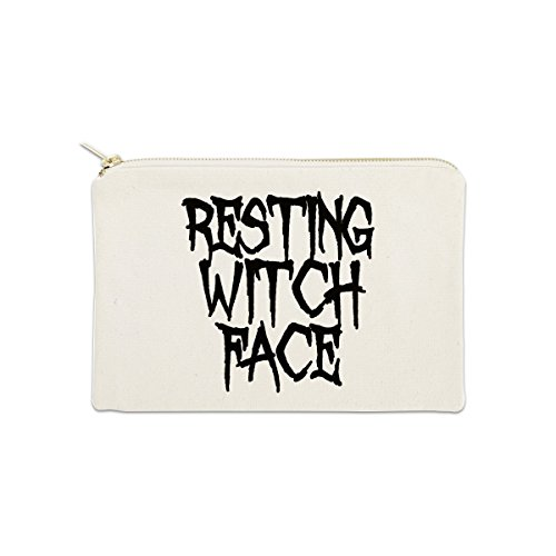 Resting Witch Face 12 oz Cosmetic Makeup Cotton Canvas Bag - (Natural -