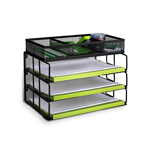 Stackable File Organizer, Besource Mesh 3-Tier Office Desk Organizer with 3 Horizontal Compartments and 1 Sorter, Black