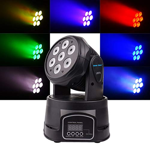 Moving Head Stage Light, 7X8W RGBW Mini Moving Beams Rotating Head lighting for Bars Disco hall Performance Places Sound Activated,Master-slave, Auto Running 2018 Latest Update