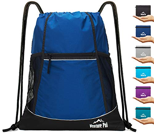 Venture Pal Packable Sport Gym Drawstring Sackpack Backpack Bag with Wet Pocket for Men,Women-Navy]()