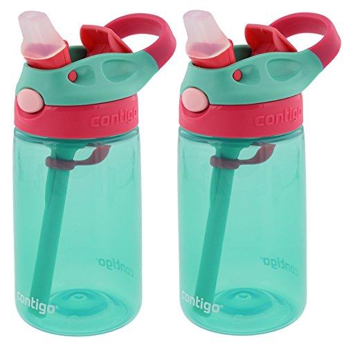 Contigo Kids Autospout Gizmo Water Bottles, 14oz (Persian Green) - 2 Pack