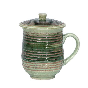 Green Hakeme Covered Mug (Cups Stoneware Coffee Japan)