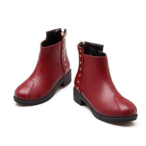 AllhqFashion Mujeres Puntera Redonda Mini Tacón Caña Baja Sólido Botas con Con tachuelas Rojo