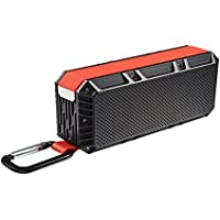 CHINIC Portable Bluetooth Speaker, Bluetooth 4.2 Speaker Wireless Speaker Waterproof IPX6 with HD Sound and Bass Rechargeable Battery 15 Playing Hours(Red)