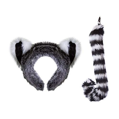 Wildlife Tree Plush Ring-Tailed Lemur Ears Headband and Tail Set for Lemur Costume, Cosplay, Pretend Animal Play or Safari Party Costumes