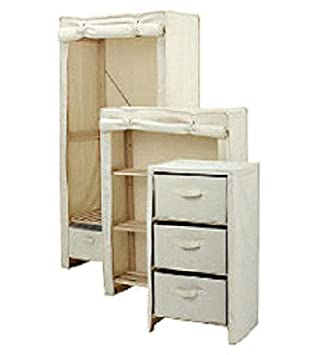 Single Wardrobe Canvas Polycotton 3 piece Storage set with Clothes ...