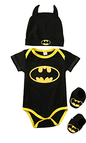 Batman Baby Onesie, 3 Piece Outfits Set Short Sleeve, 0-3 (Batman Outfits)