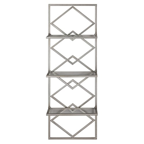 Art Deco Style Silver Wall Shelf Antiqued Contemporary | Three Metallic Hanging Open Diamond Shelves by My Swanky Home