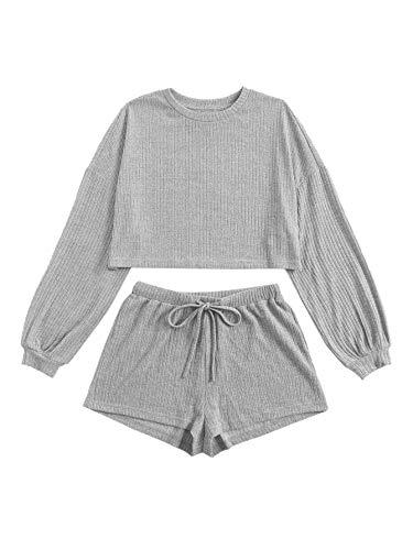 Verdusa Women's 2 Piece Lounge Sets Rib Knit Crop Top & Shorts Sweater Sweatsuit