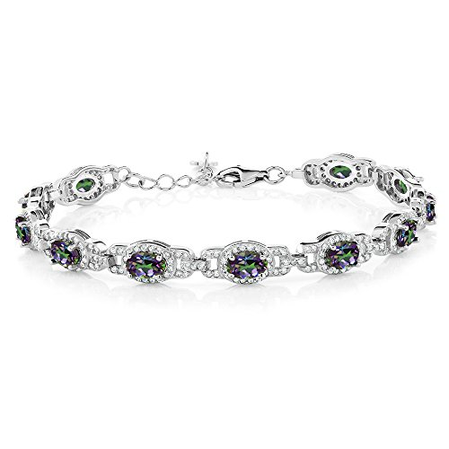 Gem Stone King 9.65 Ct Oval Green Mystic Topaz 925 Sterling Silver 7 Inch Bracelet With 1 Inch Extender