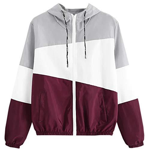 Sunhusing Ladies Fashion Tri-Color Stitching Drawstring Hooded Thin Skinsuits Coat Leisure Sweatshirt Jacket ()