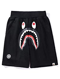QingShuiYuan Fashion boy Shark Pattern Shorts Ape Bape Trend Stitching Drawstring Youth Shorts