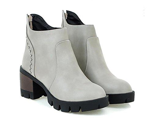 Mnii Mode Gray Femme De Courtes Bottes Tassel Rond Toe Chaussures Martin 1F5Wpvzrq1