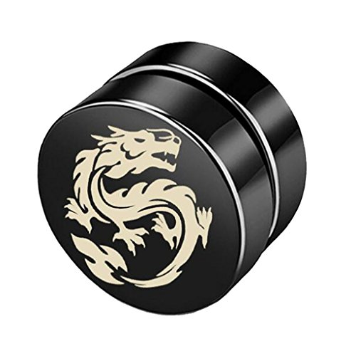 8mm Ancient Dragon King Clip on Magnet Earrings Circle Non Pierced Stainless Steel for Men Women Black