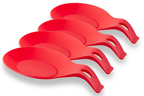 XL Unbreakable Silicone Spoon Rest for Stove, Kitchen & Cooking Pot, Red X-Large 4-Pack Resting & Cooking Spoon Holder for Stove Top, Perfect for Ladles, Soup, Tea & Coffee Spoons - YumYum Utensils