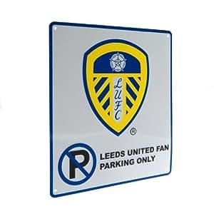 Diseño de equipo Leeds United sin señal de aparcamiento - metal sin señal de aparcamiento - aprox 23 cm x 25 cm - en un tarjeta de cabecera - Balón de fútbol oficial