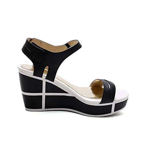 AmoonyFashion Womens Hook And Loop Open Toe High Heels Cow Leather Solid Sandals Black cY1uTwJEC