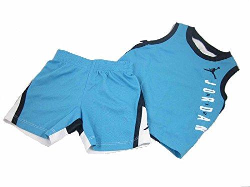 Boys Jordan Toddler 2 Piece Shorts & Tank Color Blocked Set (24 Months, Aqua Blue/Black/White) by Jordan