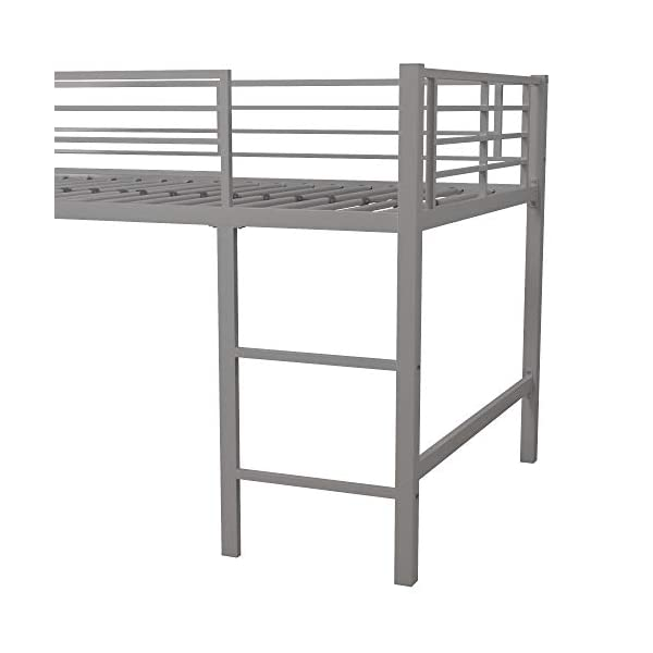 DHP Junior Twin Metal Loft Bed with Slide, Multifunctional Design, Silver with Blue Slide 4