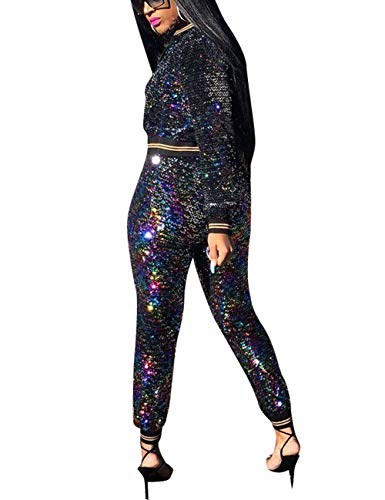 351a74c1f65 Akmipoem Women s Sequin 2 Piece Outfit Long Sleeve Zip Up Jacket and Bodycon  Pants Set