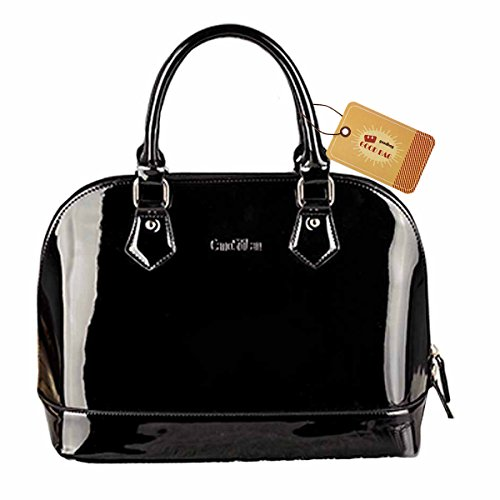 Goodbag Boutique Lady Patent Leather Handbag Satchel Tote Handbag Shell Bag Jelly Shoulder Bag Top Handle Bags Black - Leather And Patent Leather Tote Bag