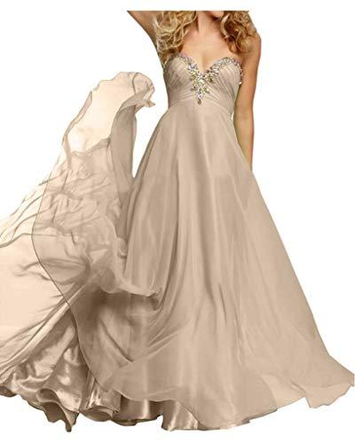 Anmutig Partykleider Steine Lang Linie La Herzausschnitt mia Abendkleider Braut A Brautjungfernkleider Chiffon Champagner qq1E8