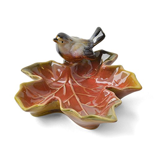 Creative Co-Op Small Maple Leaf Dish with Bird ()
