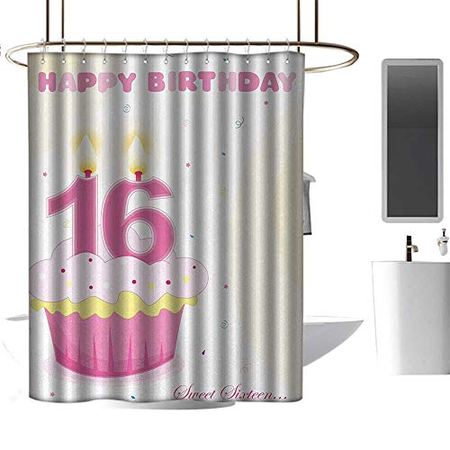 TimBeve Clear Shower Curtain Liner 16th Birthday,Tasty Cupcake
