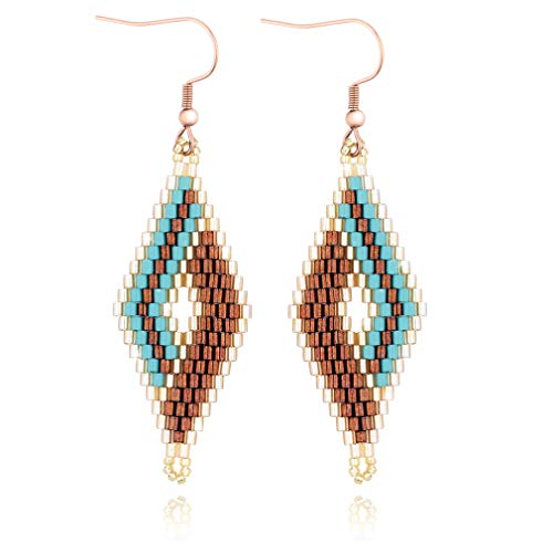 Jane Eyre Bohemian Dangle Drop Earrings Handmade Lightweight Fish Hook Earrings for Women and Girls Rhombus Eardrop (Lake Blue & Gold)