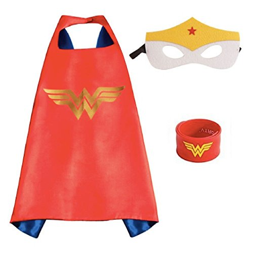 Honey Badger Brands Dress up Comic Cartoon Superhero Costume (Wonder Woman with Snap Bracelet)